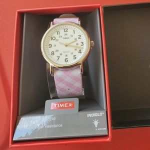 NEW! Timex Weekender Indiglo Pink Gingham watch.